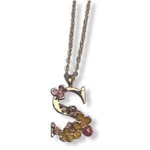 """Jewelry - NEW! """"S"""" Floral Necklace, Gold Chain"""